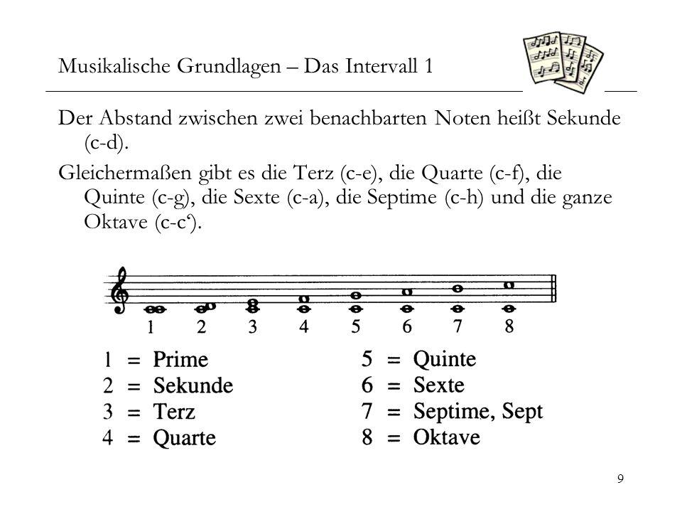 10 Musikalische Grundlagen – Das Intervall 2 Diese Intervallbezeichnungen sind relativ zum Grundton und der benutzten Tonleiter.