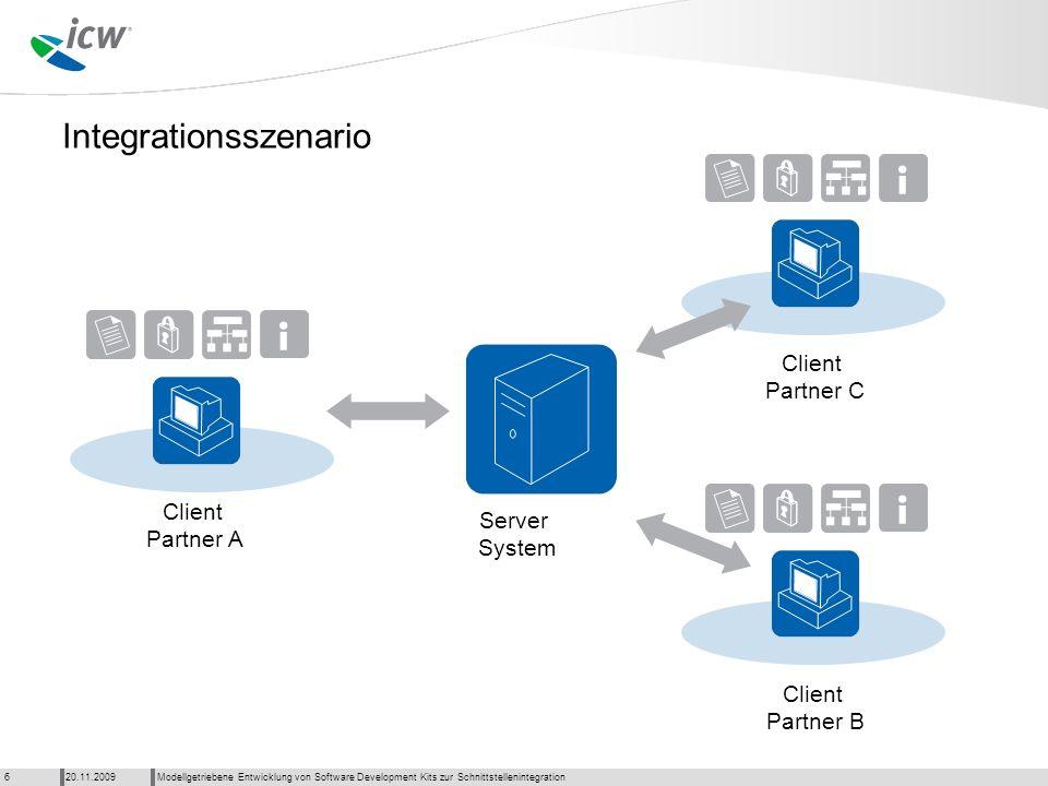 Integrationsszenario Modellgetriebene Entwicklung von Software Development Kits zur Schnittstellenintegration20.11.20096 Server System Client Partner