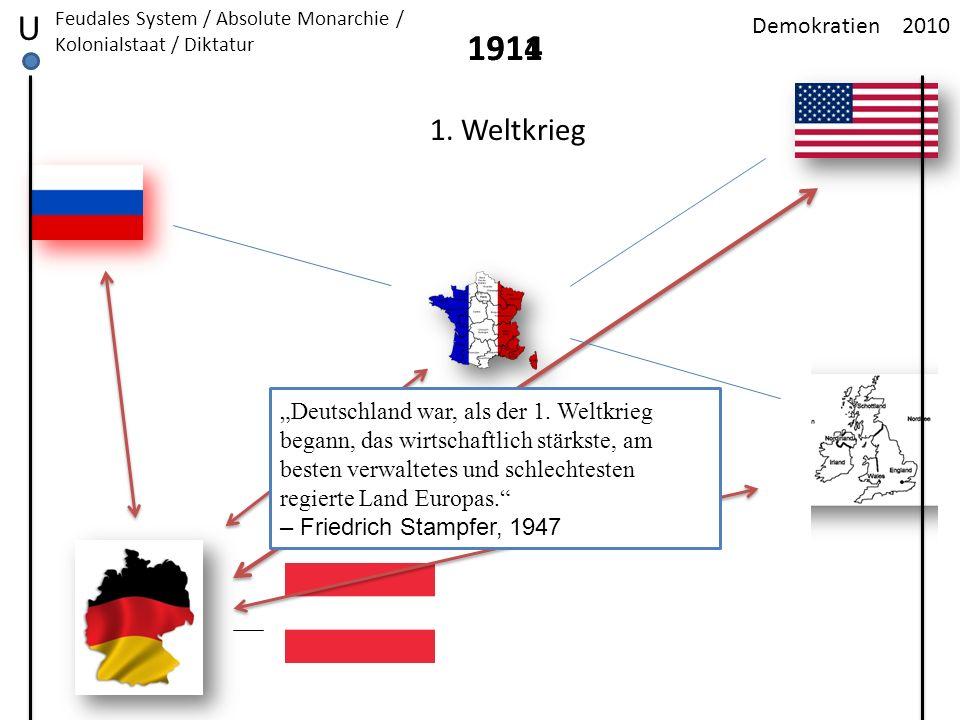 2010Demokratien U Feudales System / Absolute Monarchie / Kolonialstaat / Diktatur 1911 1. Weltkrieg 1914 Deutschland war, als der 1. Weltkrieg begann,