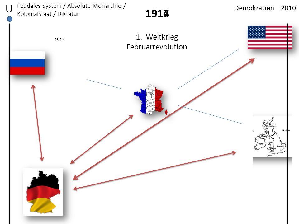 2010Demokratien U Feudales System / Absolute Monarchie / Kolonialstaat / Diktatur 19171914 1. Weltkrieg Februarrevolution 1917