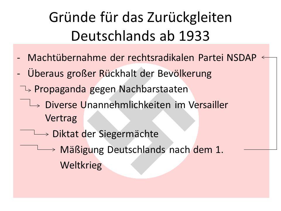 Gründe für das Zurückgleiten Deutschlands ab 1933 -Machtübernahme der rechtsradikalen Partei NSDAP -Überaus großer Rückhalt der Bevölkerung Propaganda