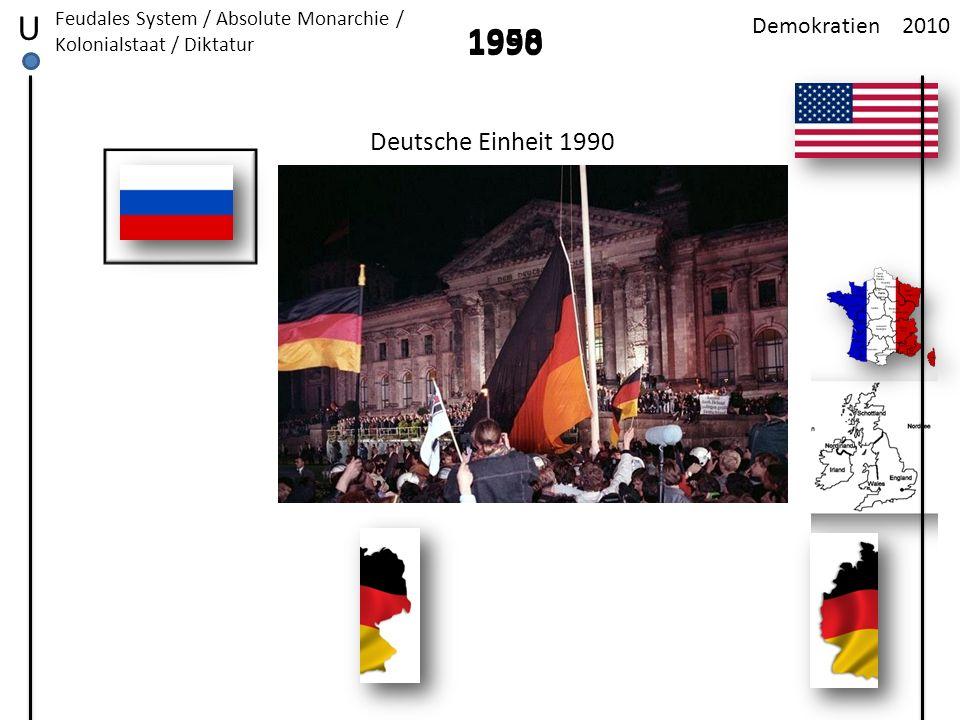 2010Demokratien U Feudales System / Absolute Monarchie / Kolonialstaat / Diktatur 1958 Deutsche Einheit 1990 1990
