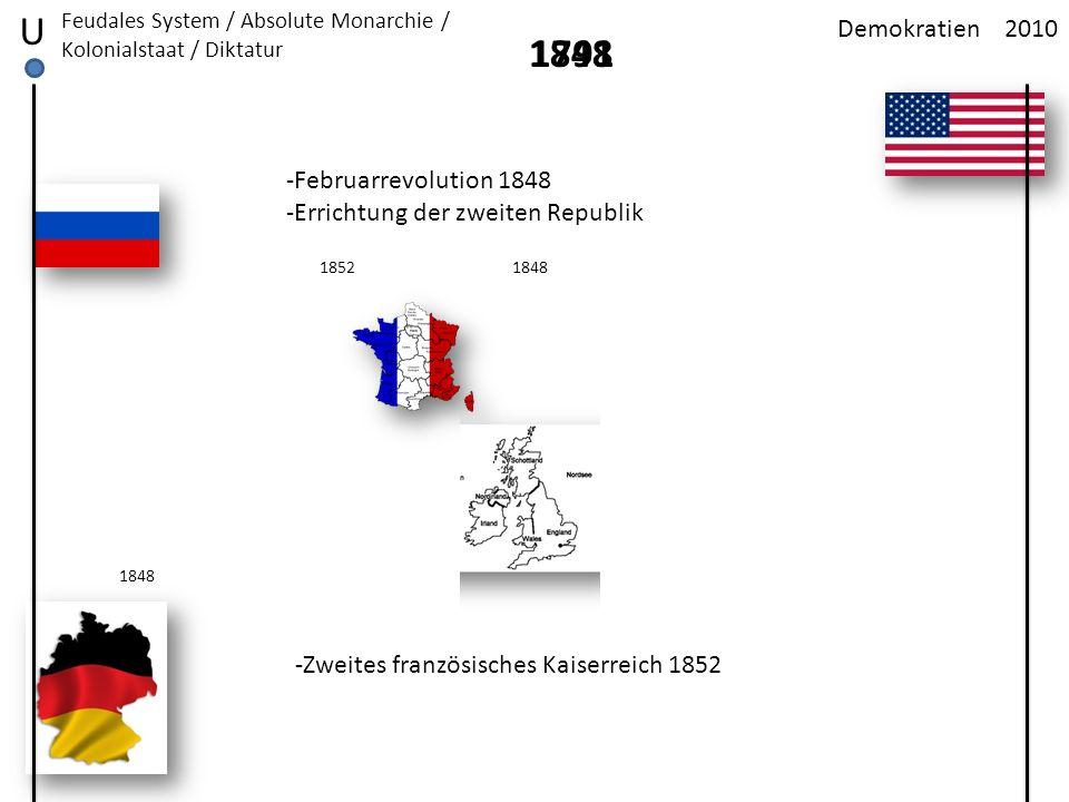 2010Demokratien U Feudales System / Absolute Monarchie / Kolonialstaat / Diktatur 1791 -Februarrevolution 1848 -Errichtung der zweiten Republik 1848 -