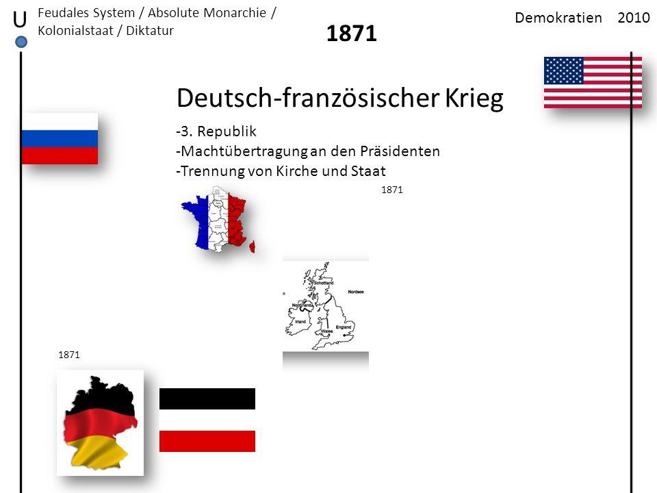 2010Demokratien U Feudales System / Absolute Monarchie / Kolonialstaat / Diktatur 1871 Deutsch-französischer Krieg 1871 -3. Republik -Machtübertragung