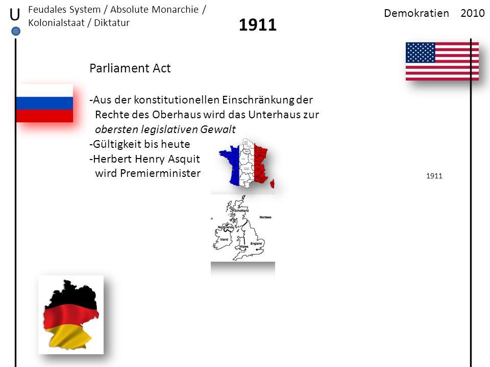 2010Demokratien U Feudales System / Absolute Monarchie / Kolonialstaat / Diktatur 1911 Parliament Act -Aus der konstitutionellen Einschränkung der Rec