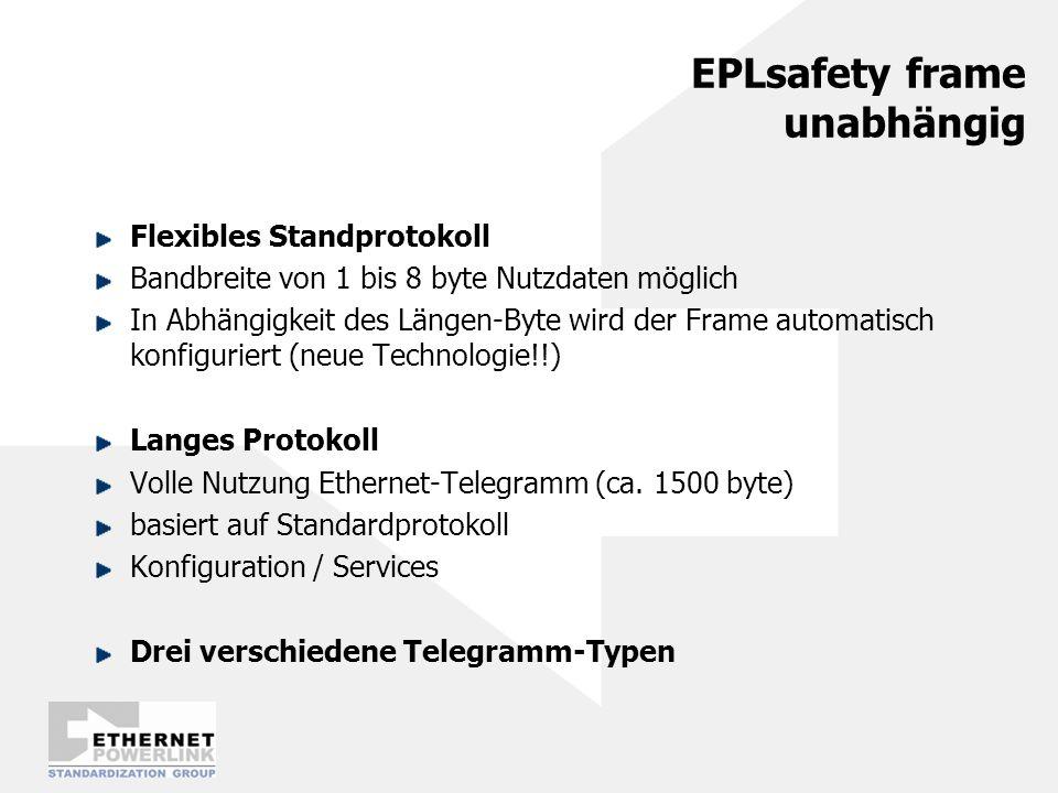 Safety Data Transport EPLsafety im Standard Powerlink eingebettet Standard PDO-Mapping Byte-Offset und Länge bestimmt eindeutig Position des EPLsafety frames Broadcast (1:n) EPLsafety Layer SN2SN4SN8 Data 4 Data 8 EPL Data Link Layer SN2 Data 4Data 8 SN4SN8 PRes Direkte Sensor-Aktor Kommunikation möglich Look-up Table in jedem Safety Node (SN) identifiziert die richtigen Nachrichten Management Node (MN) kann verwendet werden