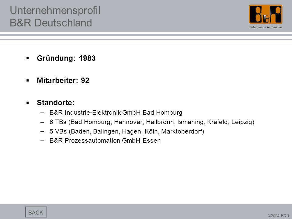 ©2004 B&R Unternehmensprofil B&R Deutschland Gründung: 1983 Mitarbeiter: 92 Standorte: –B&R Industrie-Elektronik GmbH Bad Homburg –6 TBs (Bad Homburg,