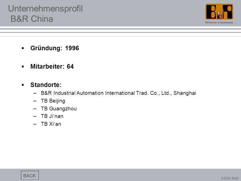 ©2004 B&R Unternehmensprofil B&R China Gründung: 1996 Mitarbeiter: 64 Standorte: –B&R Industrial Automation International Trad. Co., Ltd., Shanghai –T