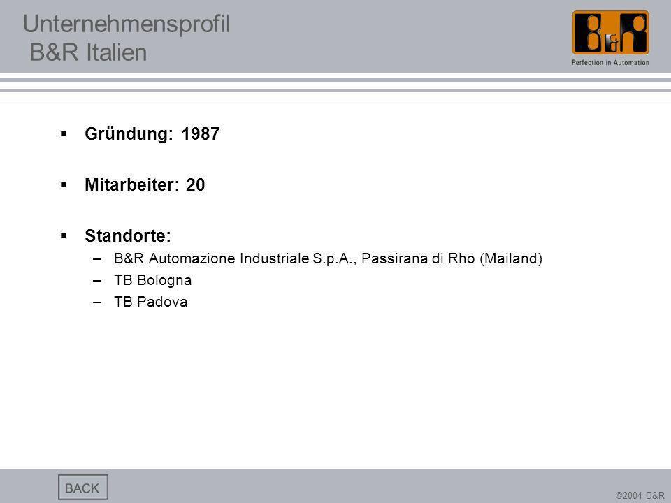 ©2004 B&R Unternehmensprofil B&R Italien Gründung: 1987 Mitarbeiter: 20 Standorte: –B&R Automazione Industriale S.p.A., Passirana di Rho (Mailand) –TB