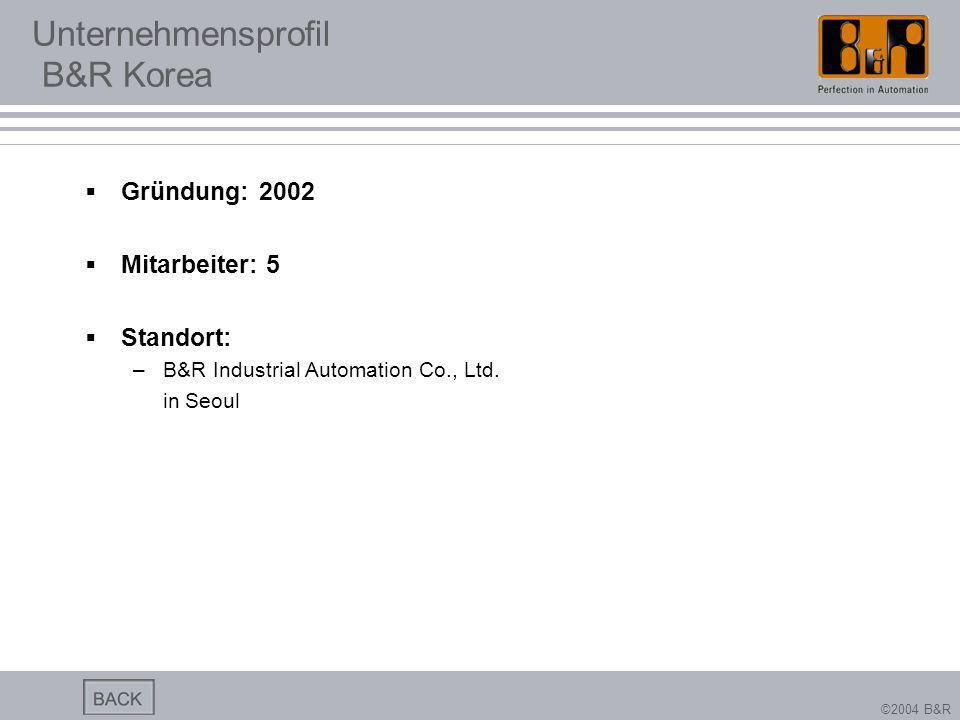 ©2004 B&R Unternehmensprofil B&R Korea Gründung: 2002 Mitarbeiter: 5 Standort: –B&R Industrial Automation Co., Ltd. in Seoul