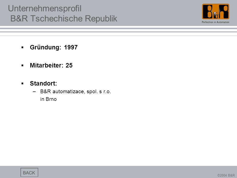 ©2004 B&R Unternehmensprofil B&R Tschechische Republik Gründung: 1997 Mitarbeiter: 25 Standort: –B&R automatizace, spol. s r.o. in Brno