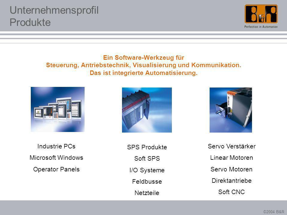 ©2004 B&R Unternehmensprofil Produkte Servo Verstärker Linear Motoren Servo Motoren Direktantriebe Soft CNC Industrie PCs Microsoft Windows Operator P