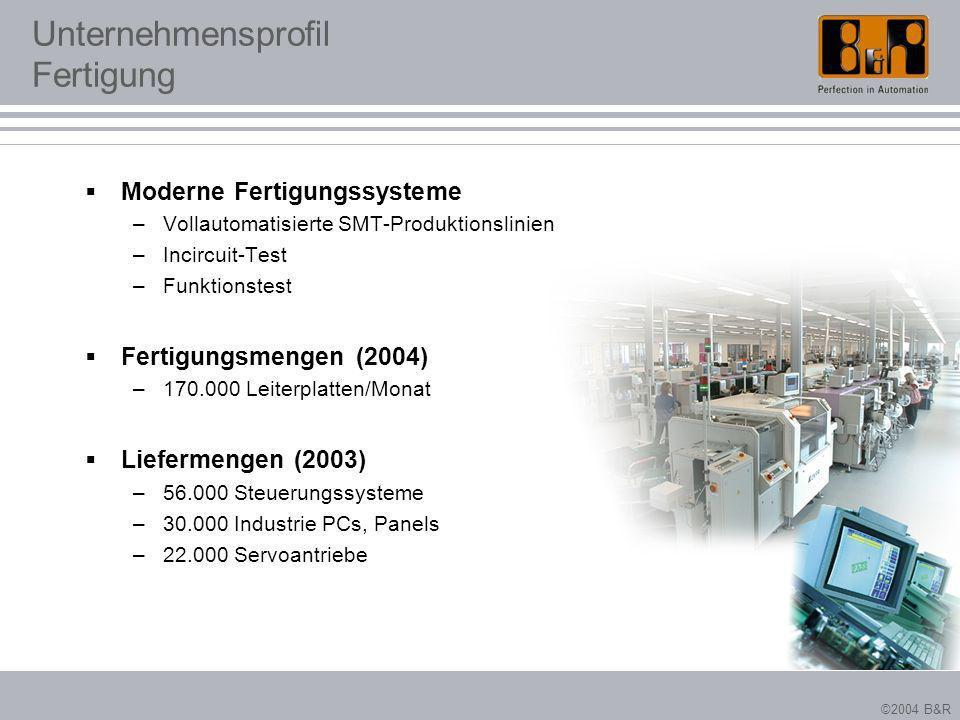 ©2004 B&R Unternehmensprofil Fertigung Moderne Fertigungssysteme –Vollautomatisierte SMT-Produktionslinien –Incircuit-Test –Funktionstest Fertigungsme