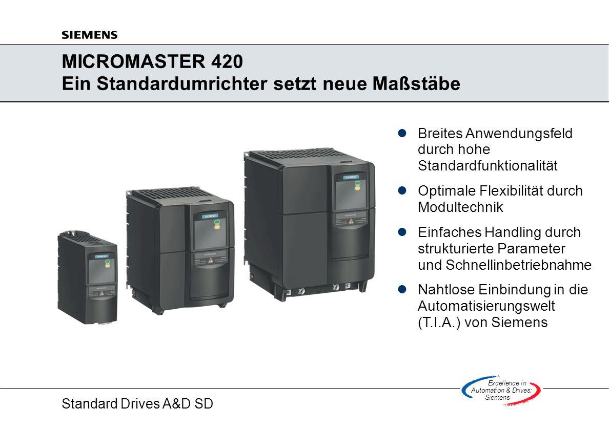 Standard Drives A&D SD Excellencein Automation&Drives: Siemens MICROMASTER 420 Ein Standardumrichter setzt neue Maßstäbe lBreites Anwendungsfeld durch