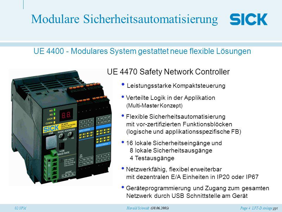 Page 4 LFT-D Anlage.pptHarald Schmidt (30.06.2005)02/3PM Modulare Sicherheitsautomatisierung UE 4400 - Modulares System gestattet neue flexible Lösung