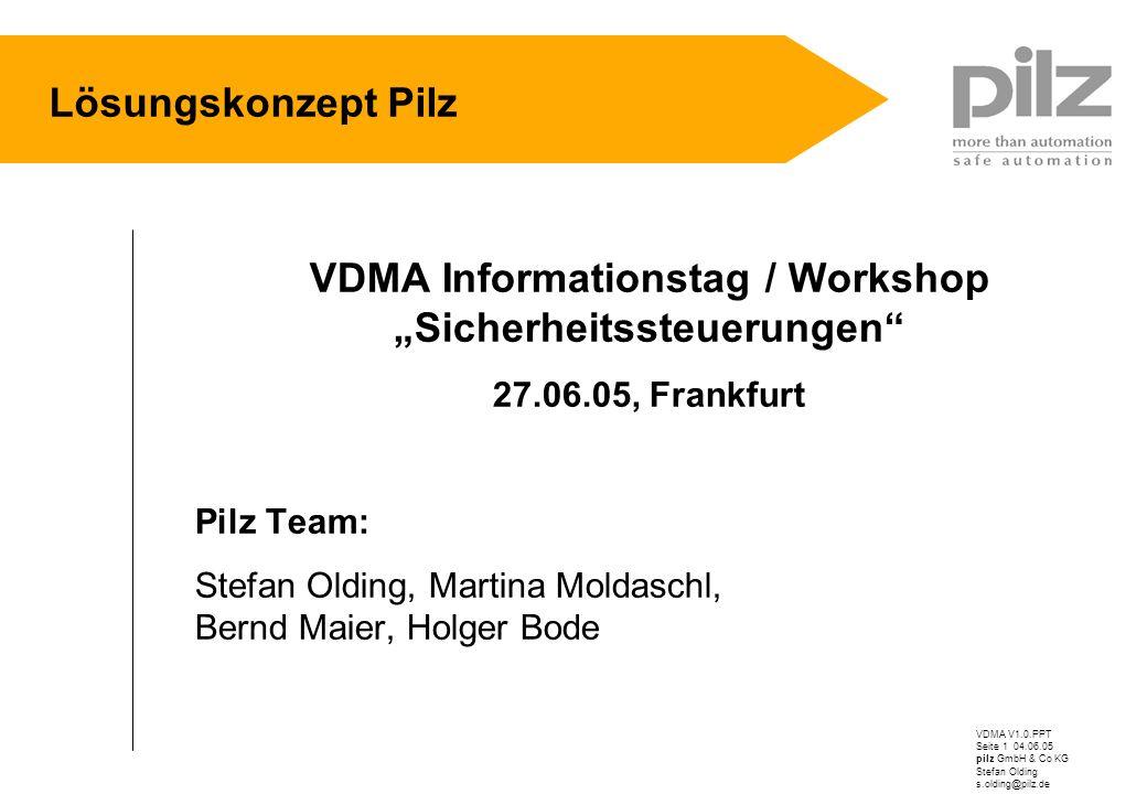 VDMA V1.0.PPT Seite 1 04.06.05 pilz GmbH & Co KG Stefan Olding s.olding@pilz.de Lösungskonzept Pilz VDMA Informationstag / Workshop Sicherheitssteueru