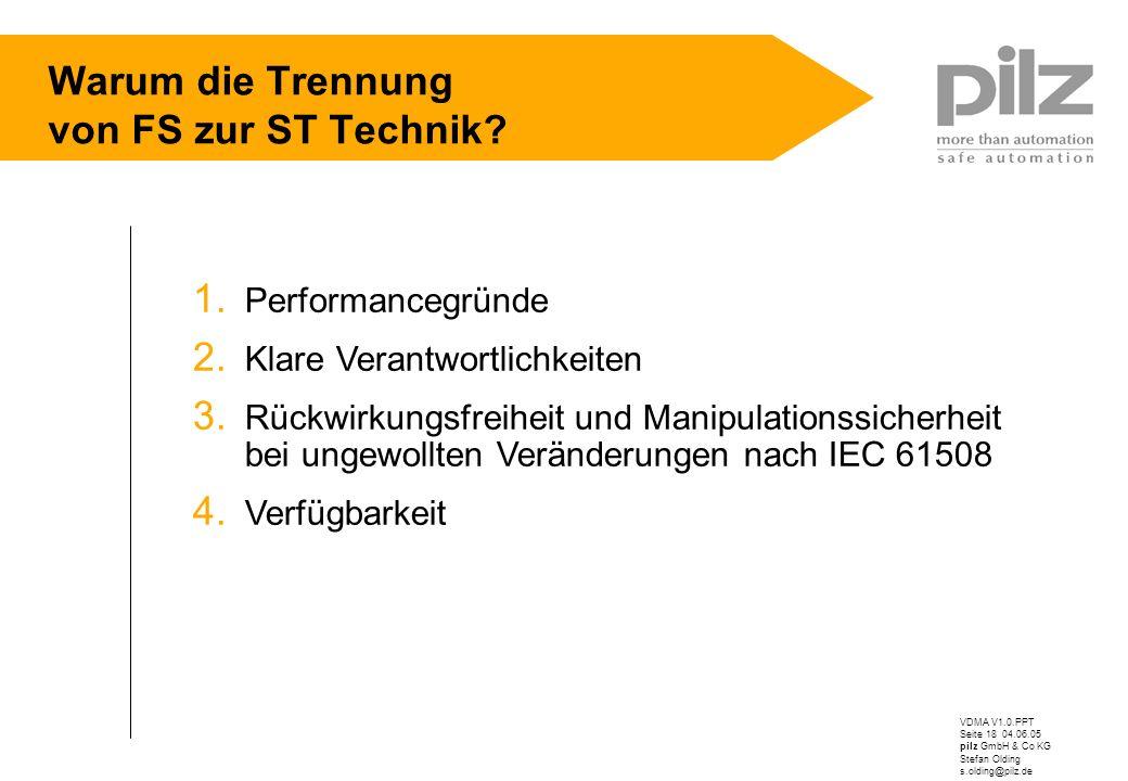 VDMA V1.0.PPT Seite 18 04.06.05 pilz GmbH & Co KG Stefan Olding s.olding@pilz.de Warum die Trennung von FS zur ST Technik? 1. Performancegründe 2. Kla
