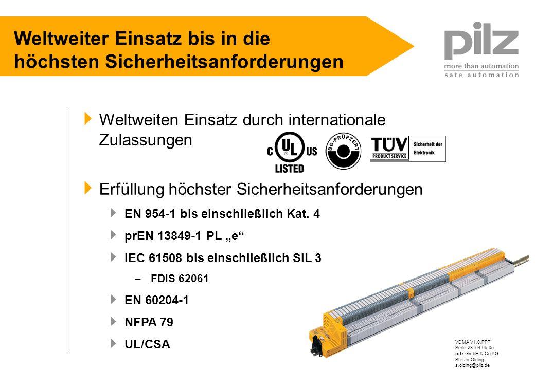 VDMA V1.0.PPT Seite 28 04.06.05 pilz GmbH & Co KG Stefan Olding s.olding@pilz.de Weltweiter Einsatz bis in die höchsten Sicherheitsanforderungen Weltw