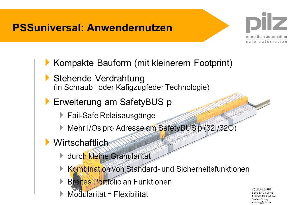 VDMA V1.0.PPT Seite 30 04.06.05 pilz GmbH & Co KG Stefan Olding s.olding@pilz.de Kompakte Bauform (mit kleinerem Footprint) Stehende Verdrahtung (in S