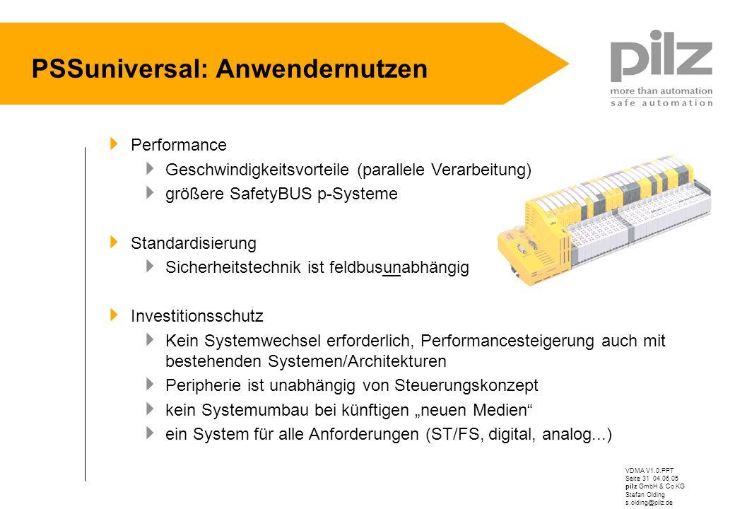 VDMA V1.0.PPT Seite 31 04.06.05 pilz GmbH & Co KG Stefan Olding s.olding@pilz.de PSSuniversal: Anwendernutzen Performance Geschwindigkeitsvorteile (pa