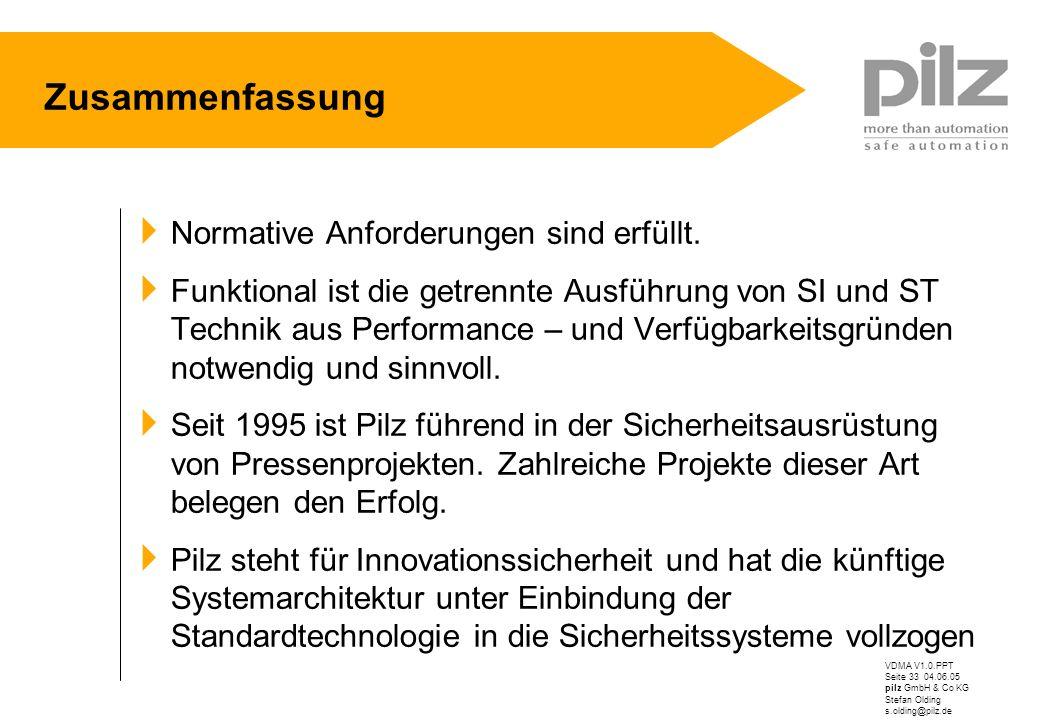 VDMA V1.0.PPT Seite 33 04.06.05 pilz GmbH & Co KG Stefan Olding s.olding@pilz.de Zusammenfassung Normative Anforderungen sind erfüllt. Funktional ist