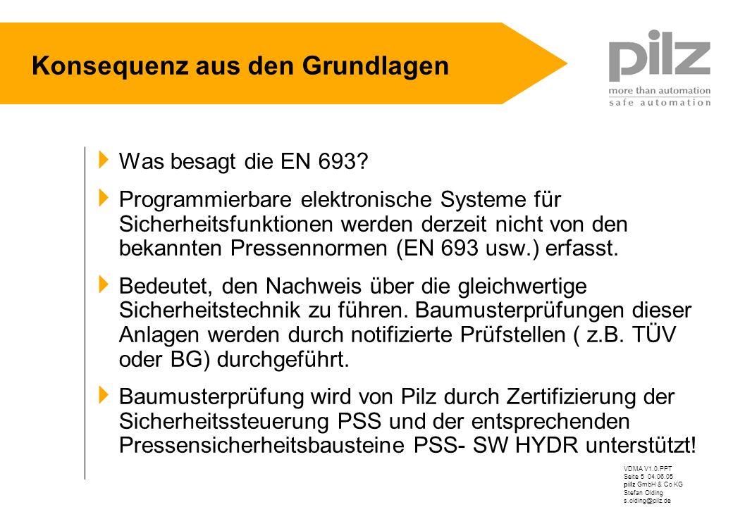 VDMA V1.0.PPT Seite 5 04.06.05 pilz GmbH & Co KG Stefan Olding s.olding@pilz.de Konsequenz aus den Grundlagen Was besagt die EN 693? Programmierbare e