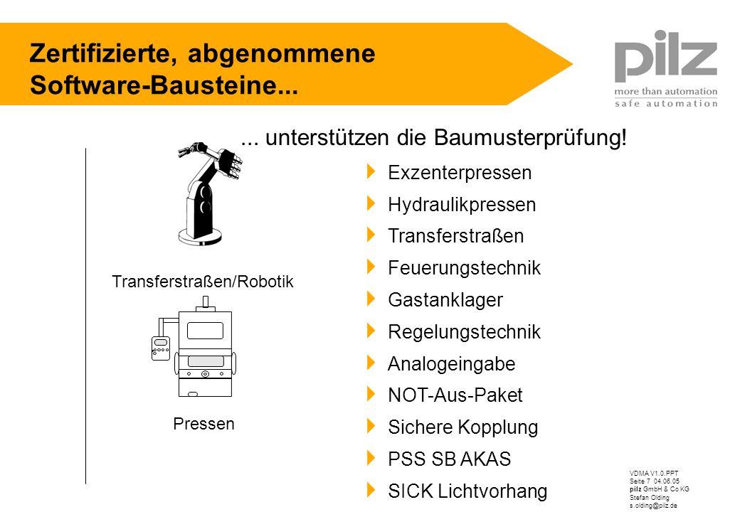 VDMA V1.0.PPT Seite 7 04.06.05 pilz GmbH & Co KG Stefan Olding s.olding@pilz.de Zertifizierte, abgenommene Software-Bausteine... Exzenterpressen Hydra