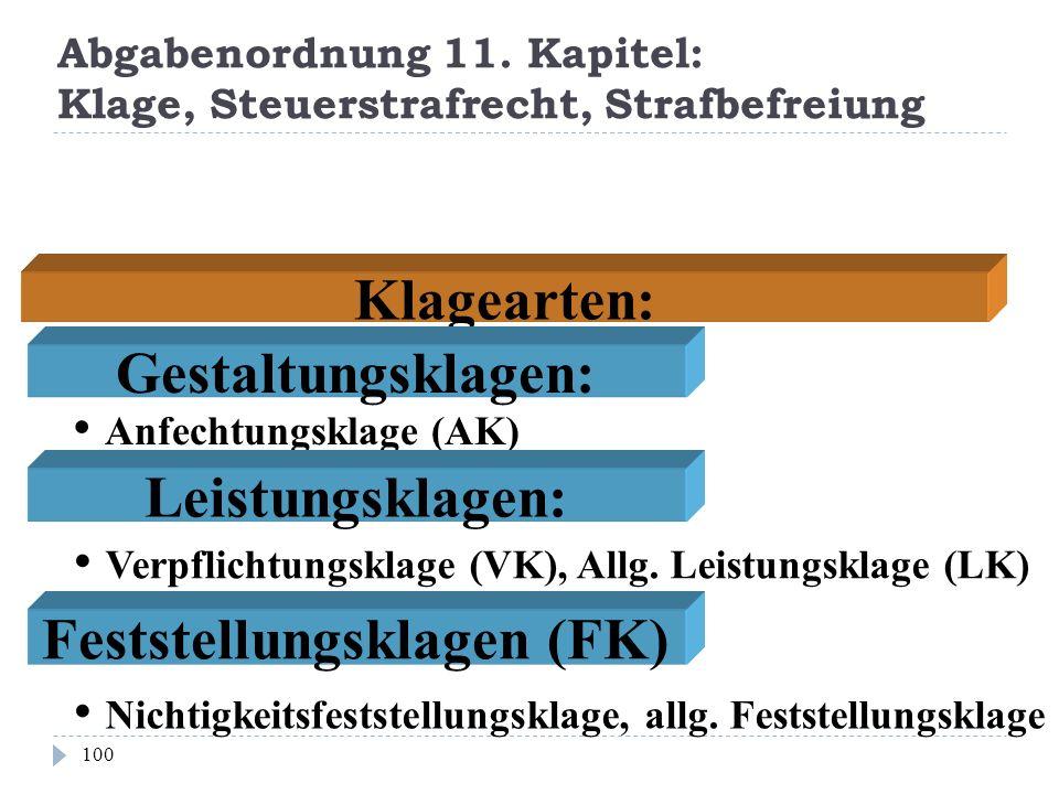 Abgabenordnung 11. Kapitel: Klage, Steuerstrafrecht, Strafbefreiung 100 Klagearten: Anfechtungsklage (AK) Verpflichtungsklage (VK), Allg. Leistungskla