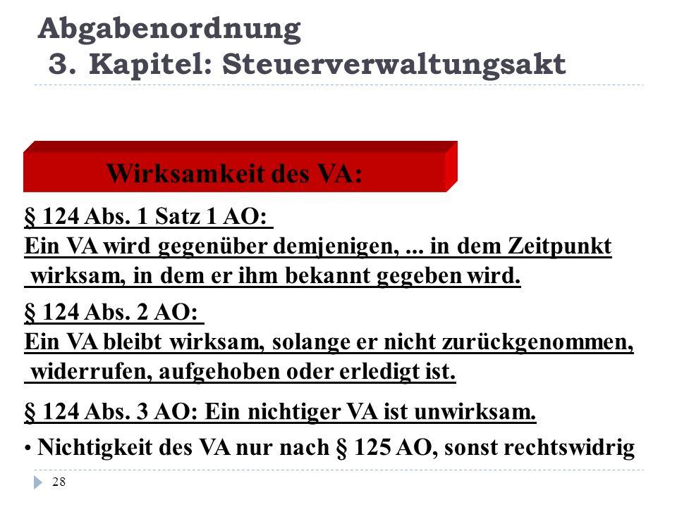 Abgabenordnung 3. Kapitel: Steuerverwaltungsakt 28 Wirksamkeit des VA: § 124 Abs. 1 Satz 1 AO: Ein VA wird gegenüber demjenigen,... in dem Zeitpunkt w