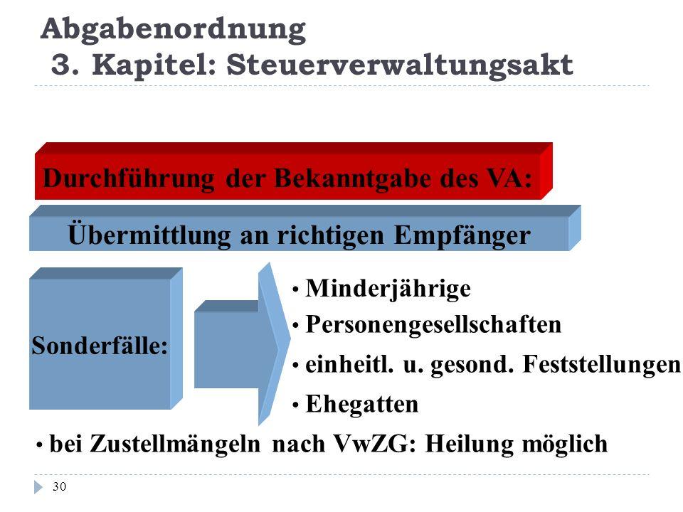 Abgabenordnung 3. Kapitel: Steuerverwaltungsakt 30 Durchführung der Bekanntgabe des VA: Übermittlung an richtigen Empfänger Sonderfälle: Minderjährige