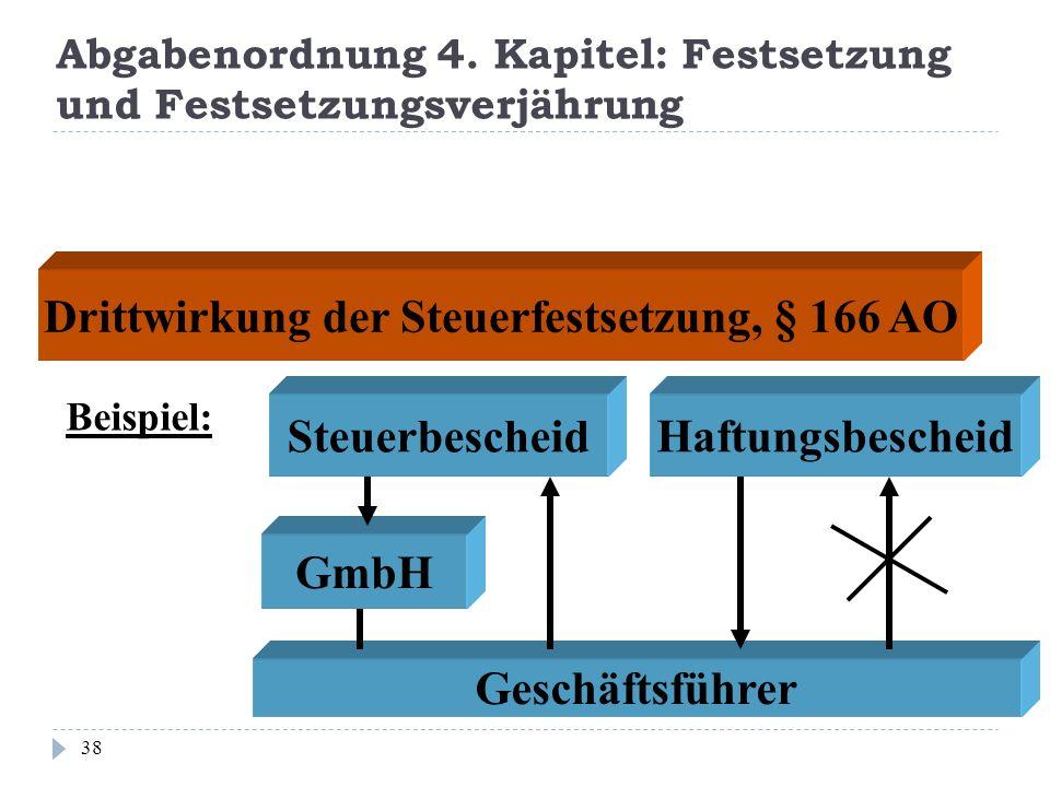 Abgabenordnung 4. Kapitel: Festsetzung und Festsetzungsverjährung 38 Drittwirkung der Steuerfestsetzung, § 166 AO Beispiel: Steuerbescheid GmbH Haftun