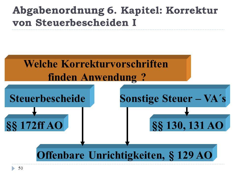 Abgabenordnung 6. Kapitel: Korrektur von Steuerbescheiden I 50 Welche Korrekturvorschriften finden Anwendung ? Steuerbescheide Sonstige Steuer – VA´s