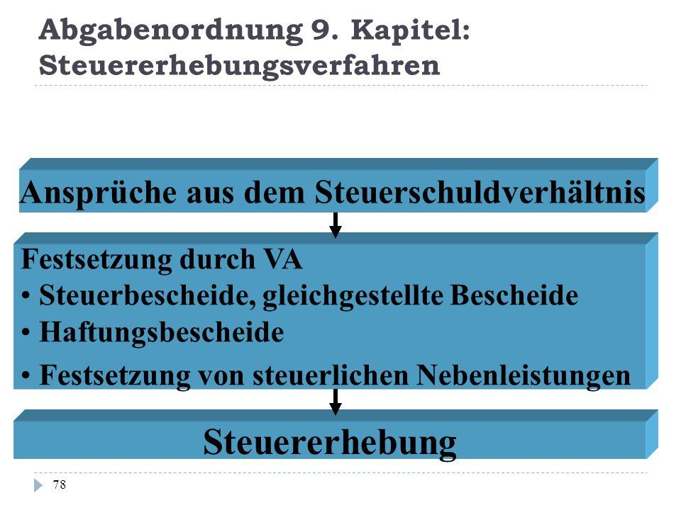 Abgabenordnung 9. Kapitel: Steuererhebungsverfahren 78 Ansprüche aus dem Steuerschuldverhältnis Festsetzung durch VA Steuerbescheide, gleichgestellte