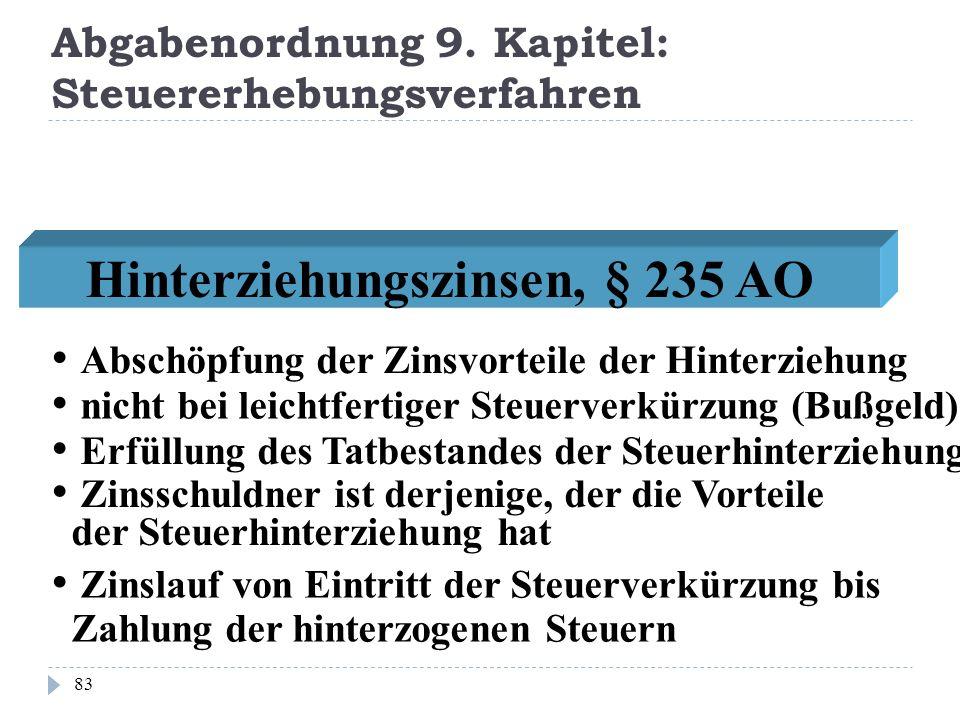 Abgabenordnung 9. Kapitel: Steuererhebungsverfahren 83 Hinterziehungszinsen, § 235 AO nicht bei leichtfertiger Steuerverkürzung (Bußgeld) Erfüllung de
