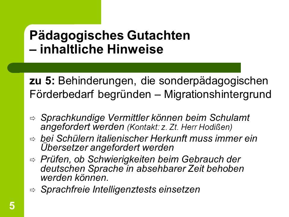 5 Pädagogisches Gutachten – inhaltliche Hinweise zu 5: Behinderungen, die sonderpädagogischen Förderbedarf begründen – Migrationshintergrund ð Sprachk