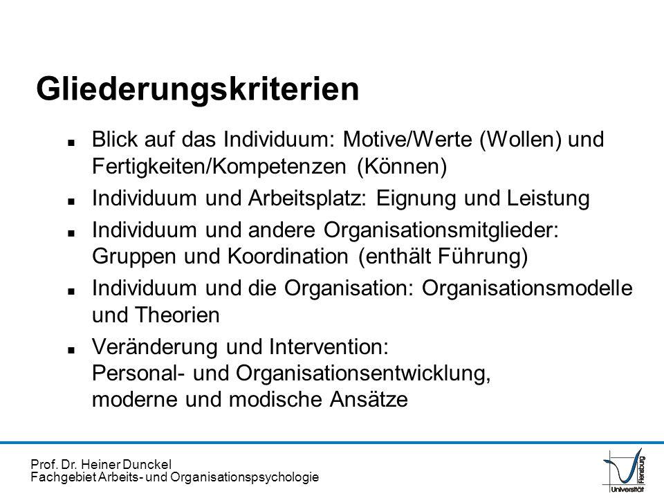 Prof. Dr. Heiner Dunckel Fachgebiet Arbeits- und Organisationspsychologie Gliederungskriterien n Blick auf das Individuum: Motive/Werte (Wollen) und F