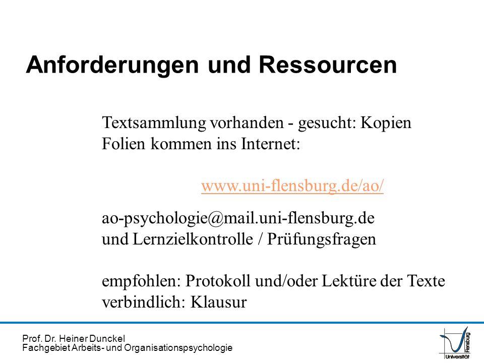 Prof. Dr. Heiner Dunckel Fachgebiet Arbeits- und Organisationspsychologie Anforderungen und Ressourcen Textsammlung vorhanden - gesucht: Kopien Folien