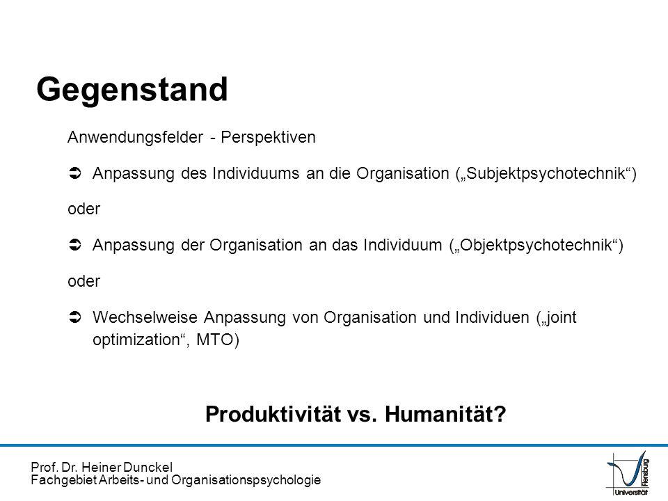Prof. Dr. Heiner Dunckel Fachgebiet Arbeits- und Organisationspsychologie Gegenstand Anwendungsfelder - Perspektiven Anpassung des Individuums an die