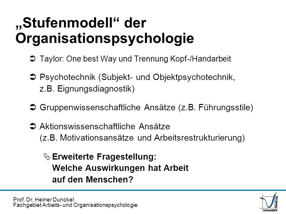 Prof. Dr. Heiner Dunckel Fachgebiet Arbeits- und Organisationspsychologie Stufenmodell der Organisationspsychologie Taylor: One best Way und Trennung