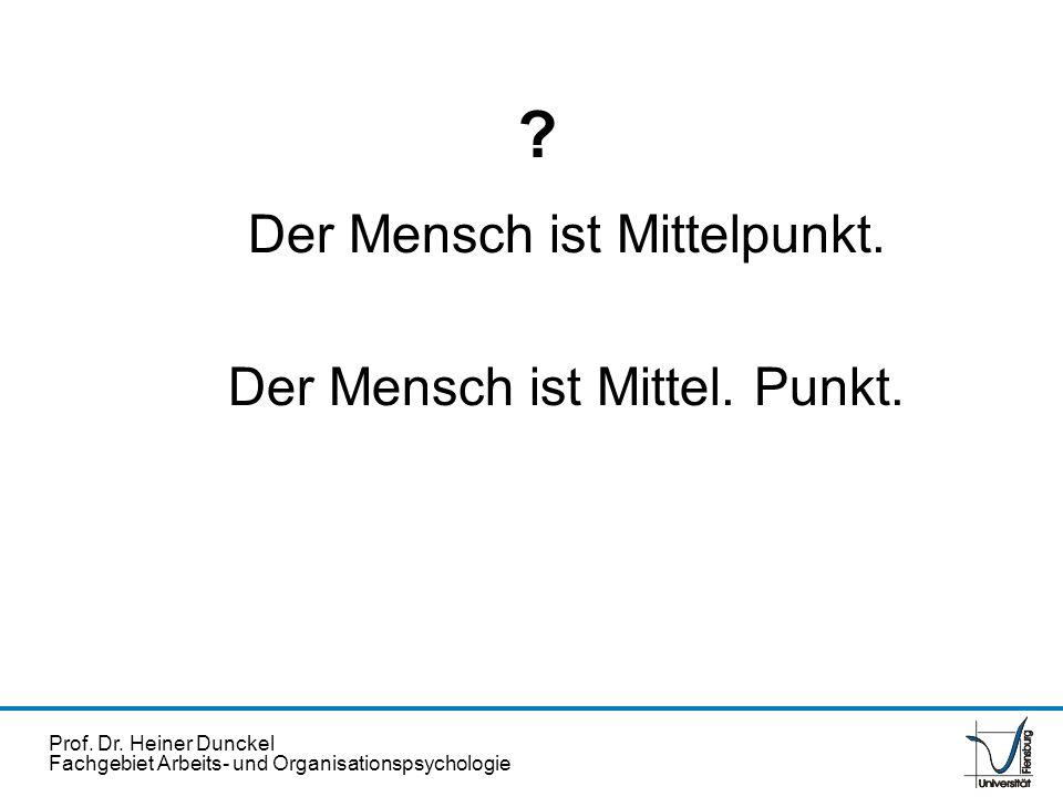 Prof. Dr. Heiner Dunckel Fachgebiet Arbeits- und Organisationspsychologie ? Der Mensch ist Mittelpunkt. Der Mensch ist Mittel. Punkt.