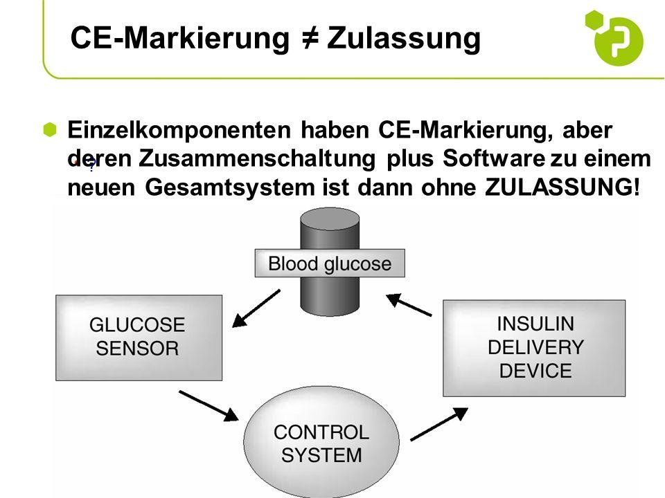 CE-Markierung Zulassung ? Einzelkomponenten haben CE-Markierung, aber deren Zusammenschaltung plus Software zu einem neuen Gesamtsystem ist dann ohne