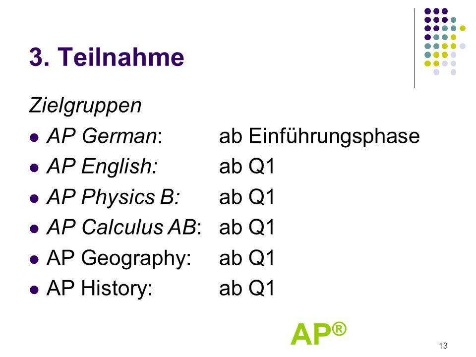 3. Teilnahme Zielgruppen AP German: ab Einführungsphase AP English: ab Q1 AP Physics B: ab Q1 AP Calculus AB: ab Q1 AP Geography: ab Q1 AP History:ab