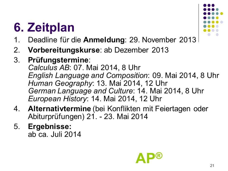 6.Zeitplan 1.Deadline für die Anmeldung: 29. November 2013 2.