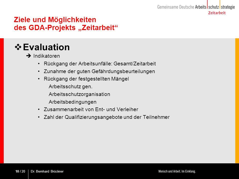 / 20 Ziele und Möglichkeiten des GDA-Projekts Zeitarbeit Evaluation Indikatoren Rückgang der Arbeitsunfälle: Gesamt/Zeitarbeit Zunahme der guten Gefäh