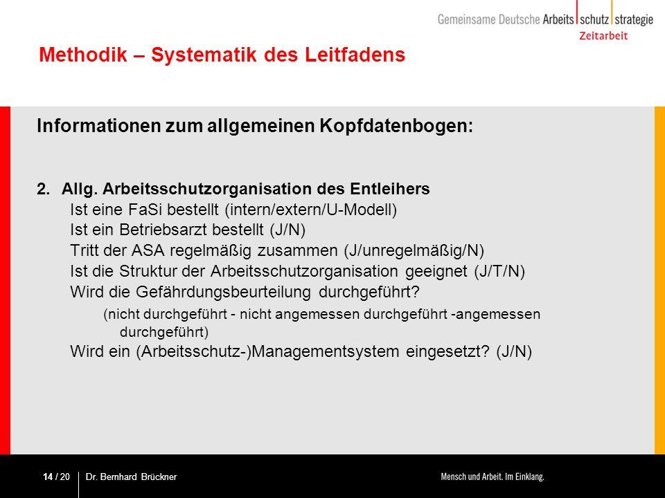 / 20 Methodik – Systematik des Leitfadens Informationen zum allgemeinen Kopfdatenbogen: 2. Allg. Arbeitsschutzorganisation des Entleihers Ist eine FaS