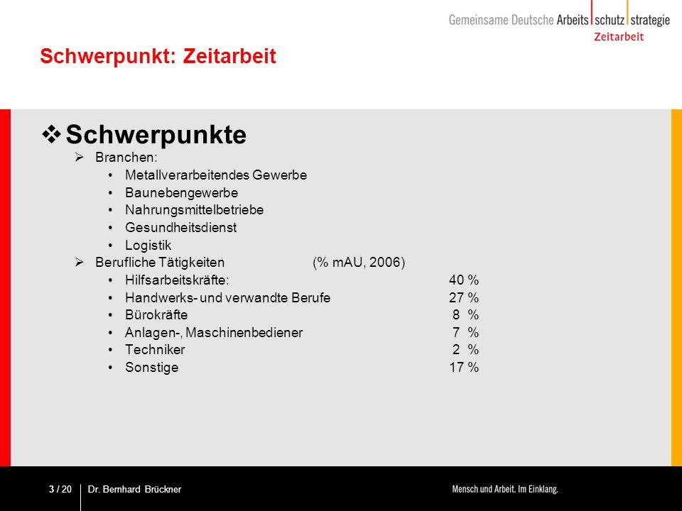 / 20 Schwerpunkt: Zeitarbeit Schwerpunkte Branchen: Metallverarbeitendes Gewerbe Baunebengewerbe Nahrungsmittelbetriebe Gesundheitsdienst Logistik Ber