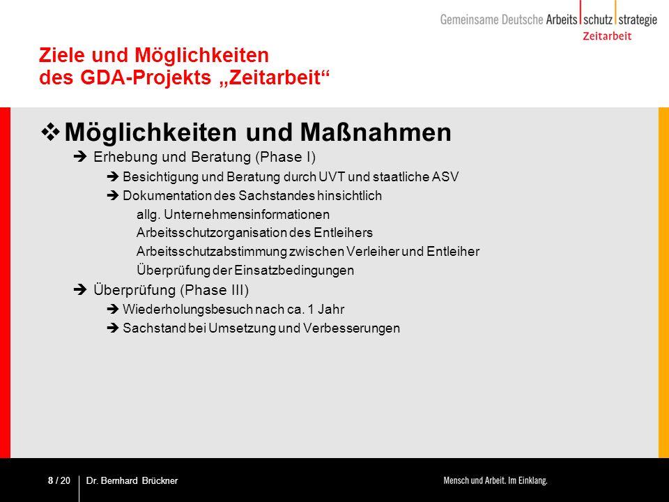 / 20 Ziele und Möglichkeiten des GDA-Projekts Zeitarbeit Möglichkeiten und Maßnahmen Erhebung und Beratung (Phase I) Besichtigung und Beratung durch U