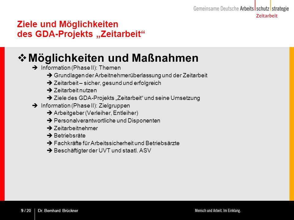 / 20 Ziele und Möglichkeiten des GDA-Projekts Zeitarbeit Möglichkeiten und Maßnahmen Information (Phase II): Themen Grundlagen der Arbeitnehmerüberlas