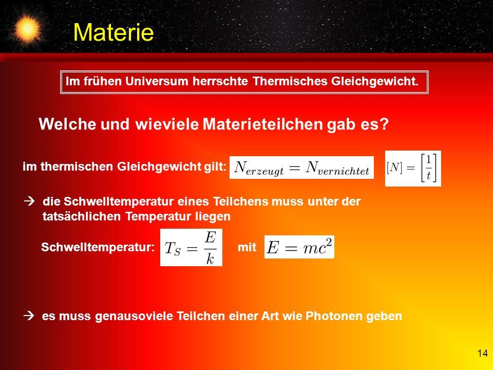 14 Materie Schwelltemperatur: mit Im frühen Universum herrschte Thermisches Gleichgewicht. die Schwelltemperatur eines Teilchens muss unter der tatsäc