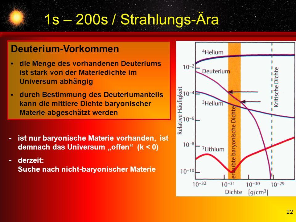 22 1s – 200s / Strahlungs-Ära Deuterium-Vorkommen die Menge des vorhandenen Deuteriums ist stark von der Materiedichte im Universum abhängig durch Bes